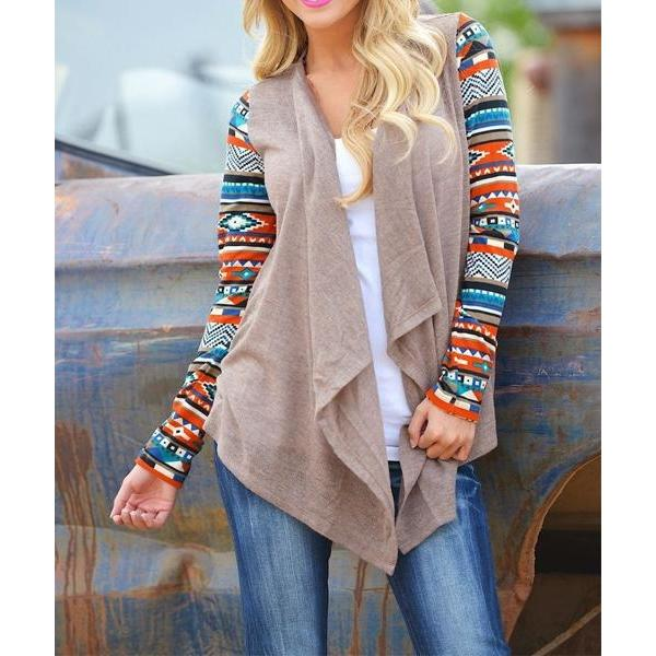 Long Sleeve Tribal Print Knitwear Cardigan Coat