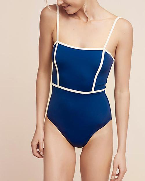 Strappy Splicing One-Piece Swimsuit
