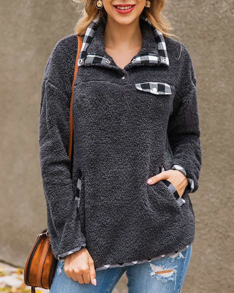 Plaid Trimmed Pockets Pullover