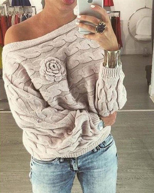 Knitted Rose Detail Off the shoulder Sweater 885e81209