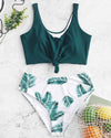 Leafs Knotted High Waist Bikini