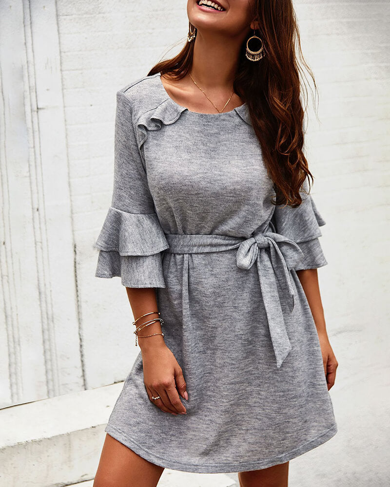 Ruffle Sleeve Mini Dress
