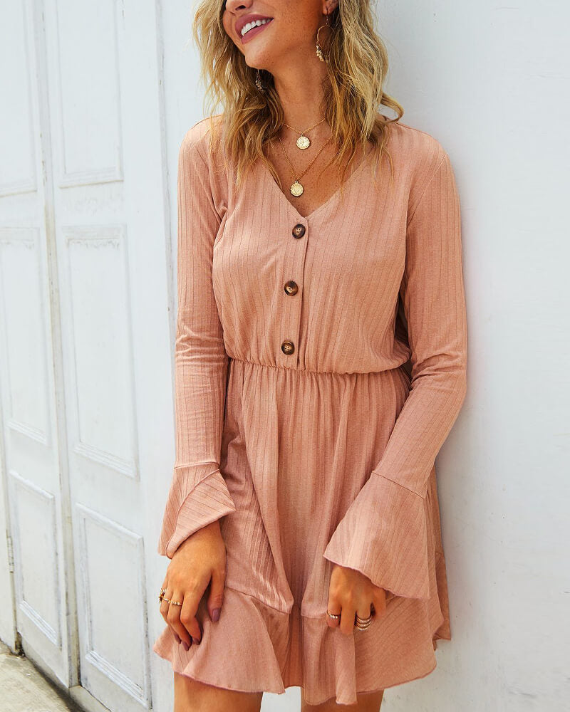 V-Neck Buttons Solid Dresses