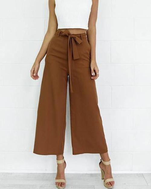 Bow Belt Flare Wide Leg Trousers