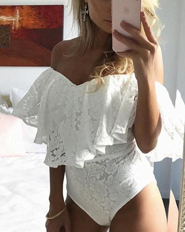 Ruffled Off The Shoulder Lace Bodysuit