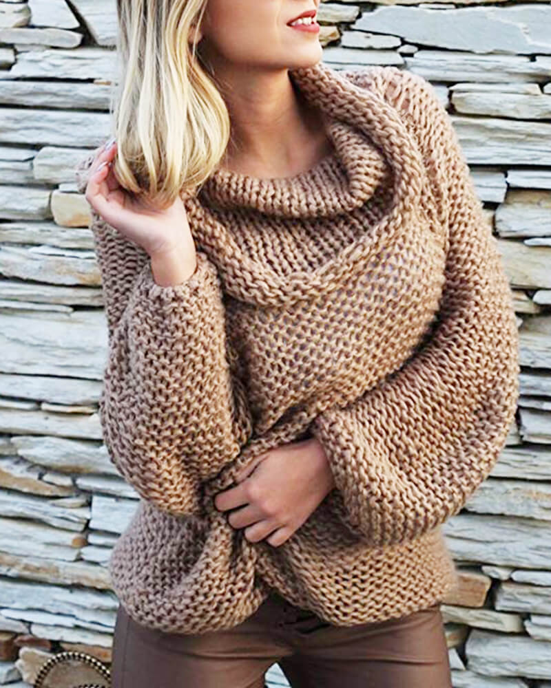 Roll Neck Off The Shoulder Crocheted Sweater