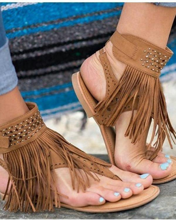Sunygal Tassels Roman Style Sandals Open Toe