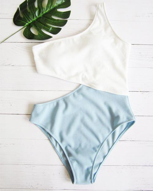 Splicing One Shoulder One-piece Swimsuit