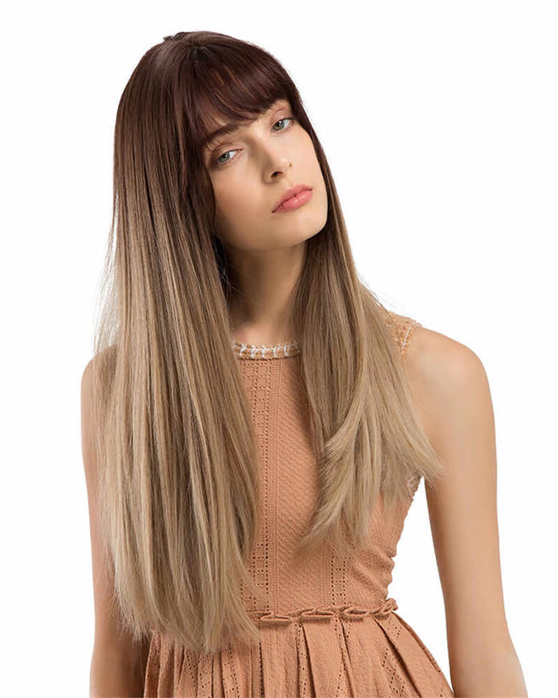 Golden Straight Bang Long Synthetic Wig