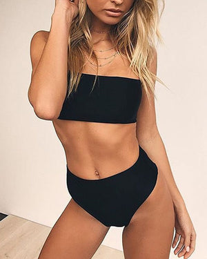High Waisted Strapless Bandeau Bikini Set