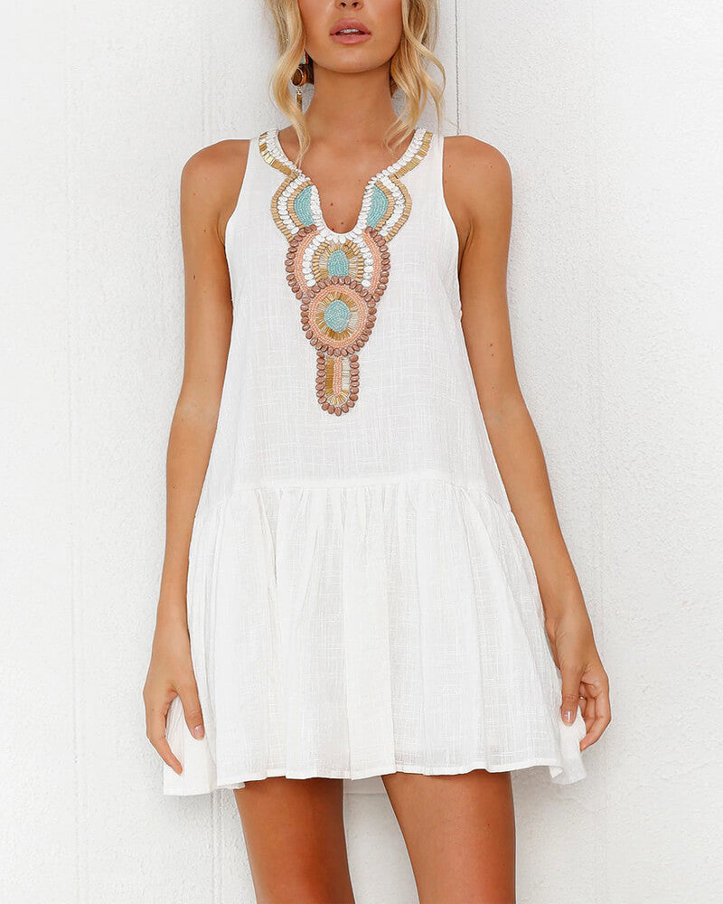White Casual Embroidery Dress