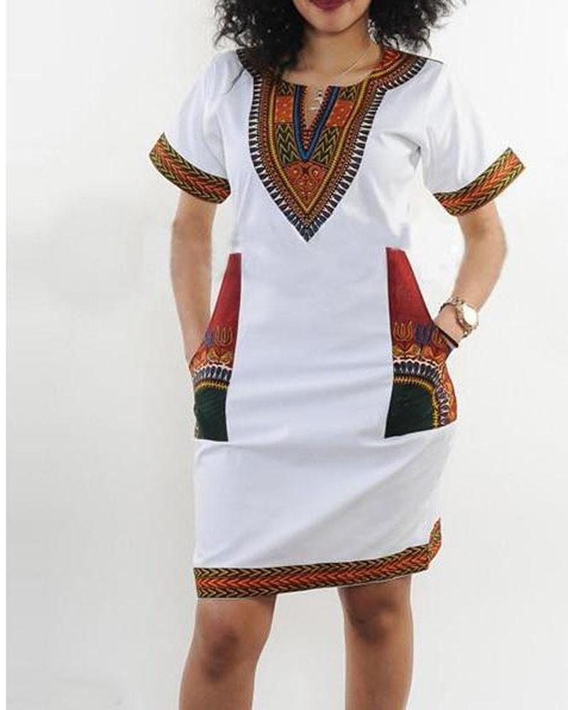Bohemian V Neck Vintage Printed Ethnic Style Summer Shift Dress