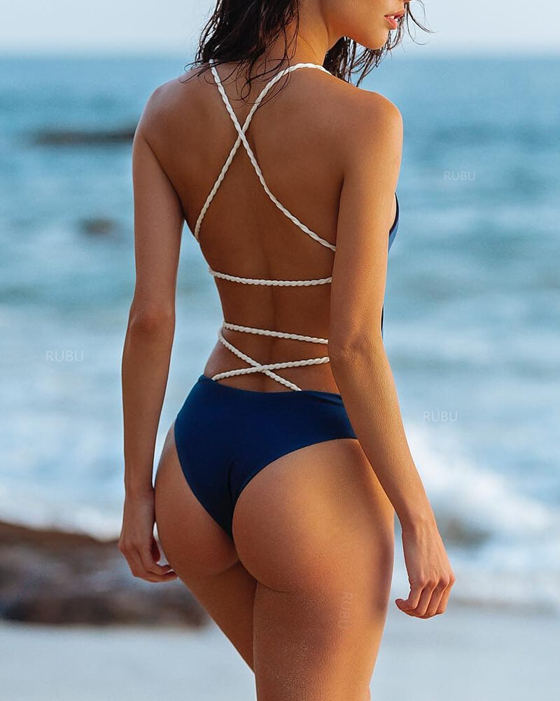 Weave Halter One-piece Backless Swimwear