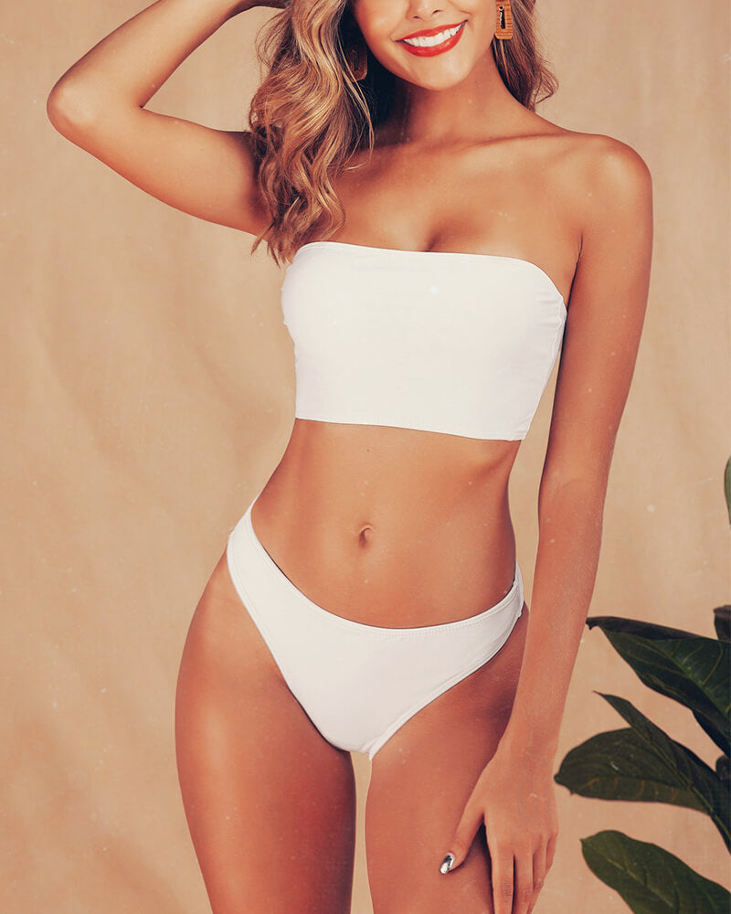 Heart Point Zip Three-piece Swimsuit