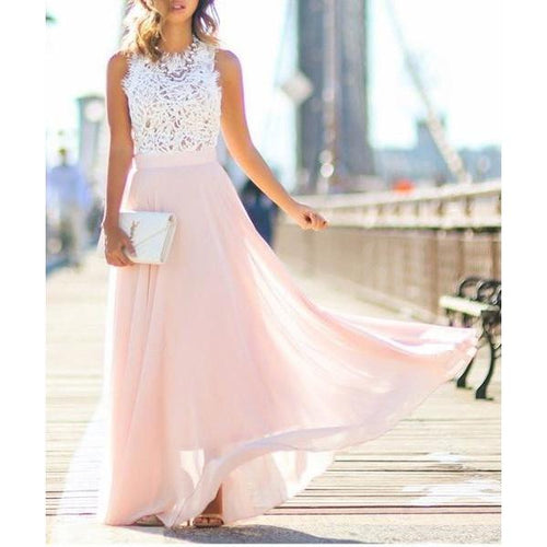 Oshlen Lace And Locks Angeles Long Dress