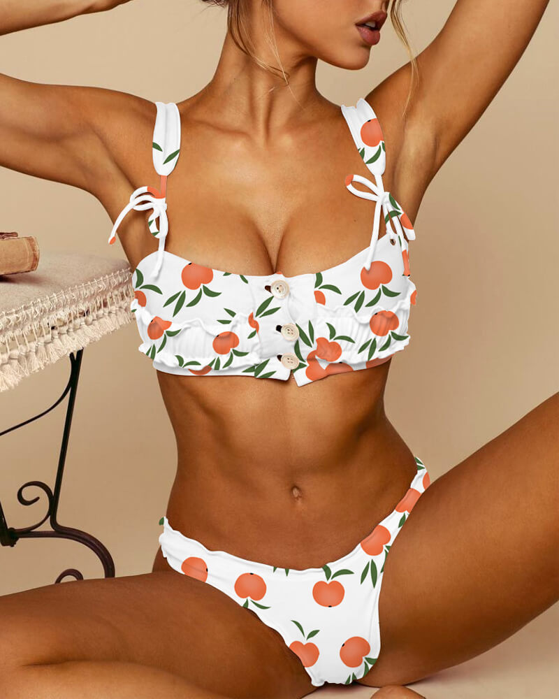 Peach Print Button Front Ruffle Swimsuit