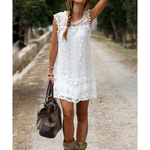 Oshlen Fringe Lace White Dress 30%OFF