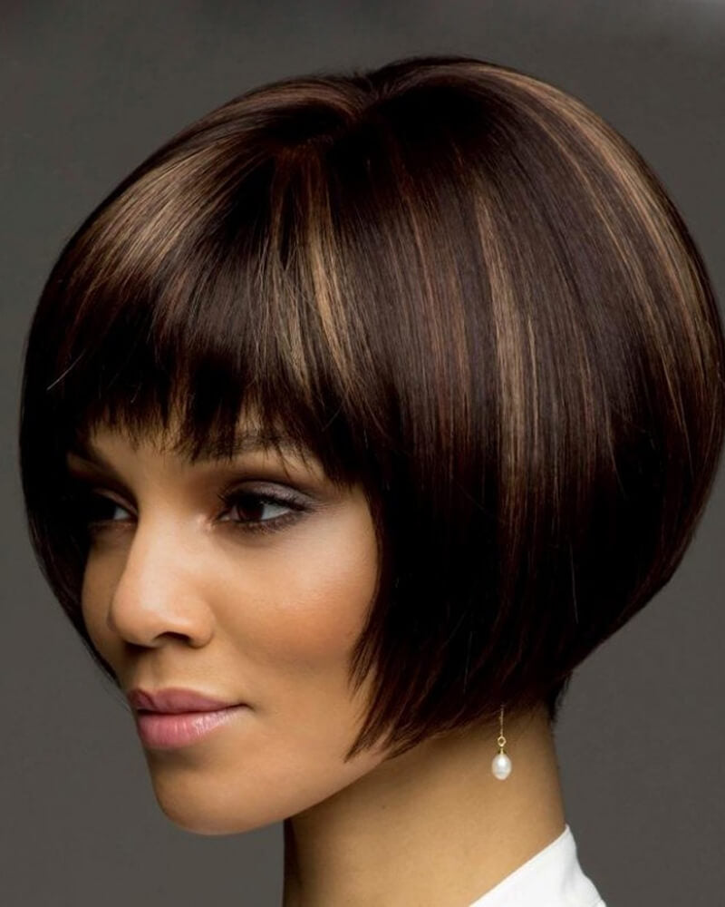 Black Brown Mushroom Bang Short Wig