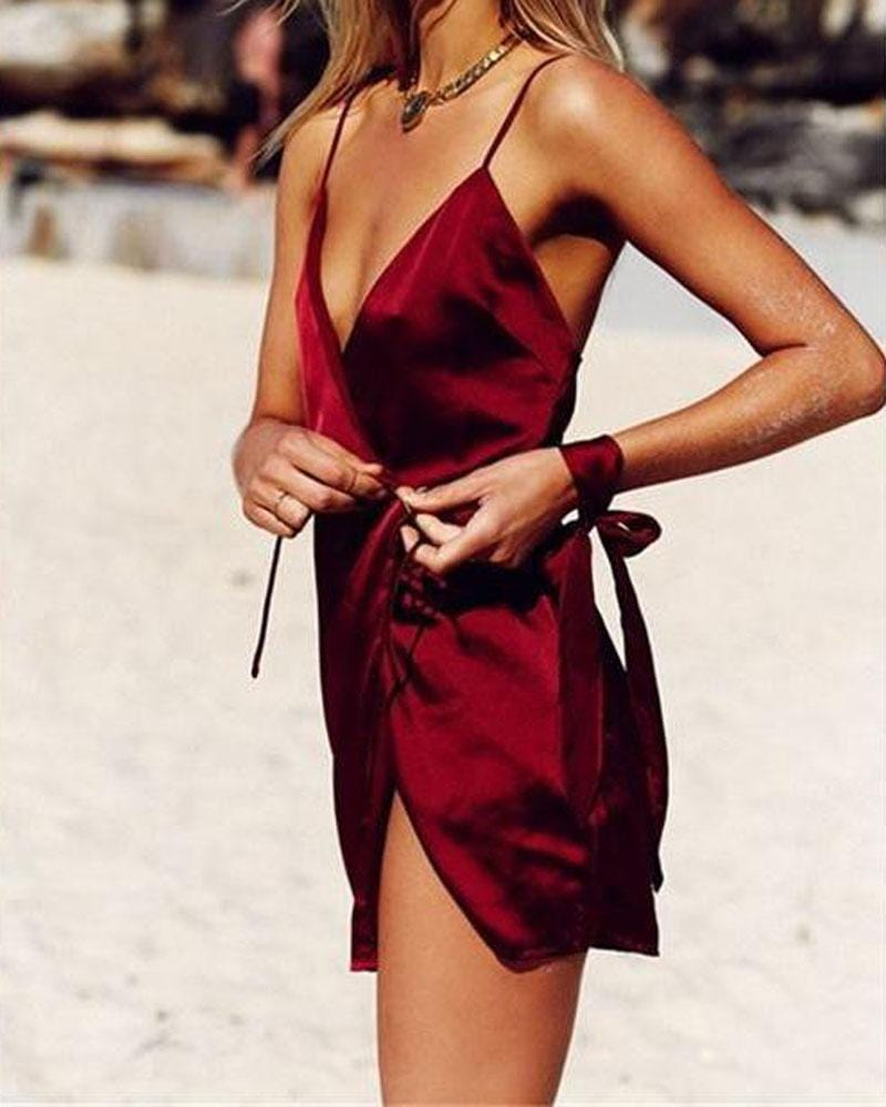 Halter Red Silk Gown Dress