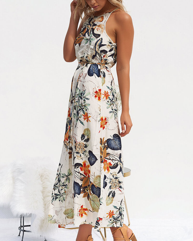 Bohemian Style Floral Print Long Dress