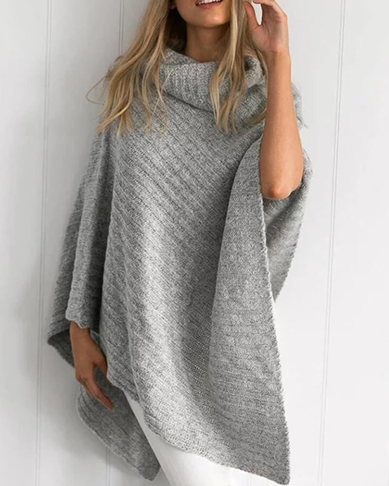 Poncho Jumper Turtleneck Irregular Hem Sweater