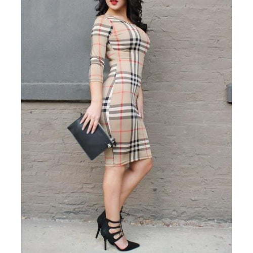 Oshlen Sexy Classical Plaid Sheath Dress