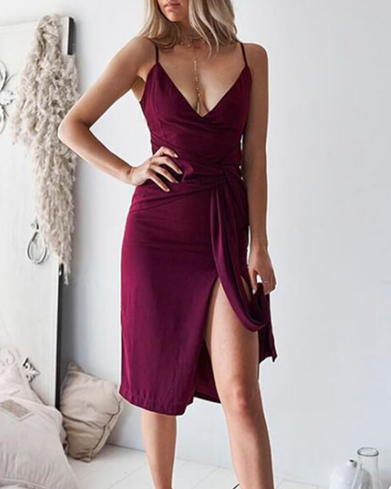 V-neck Side Slits Dress