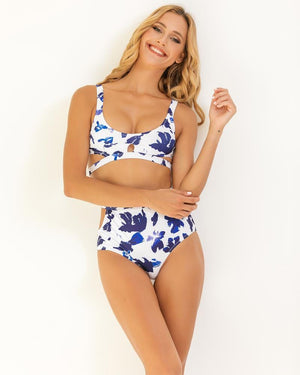 Liquid Rose High-Waisted Bikini Set