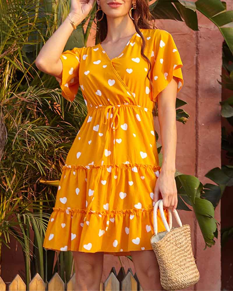 Flora Print Pleated Short Sleeve Straight Dresses