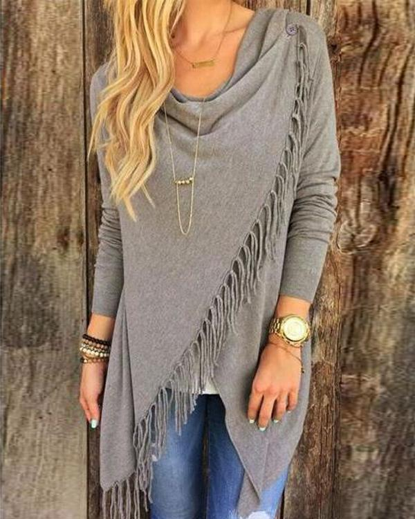 Tassel Color  Irregular Fring Shawl Coat