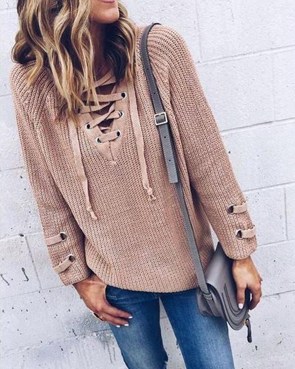 Lace Up Knitting Long Casual Sweater