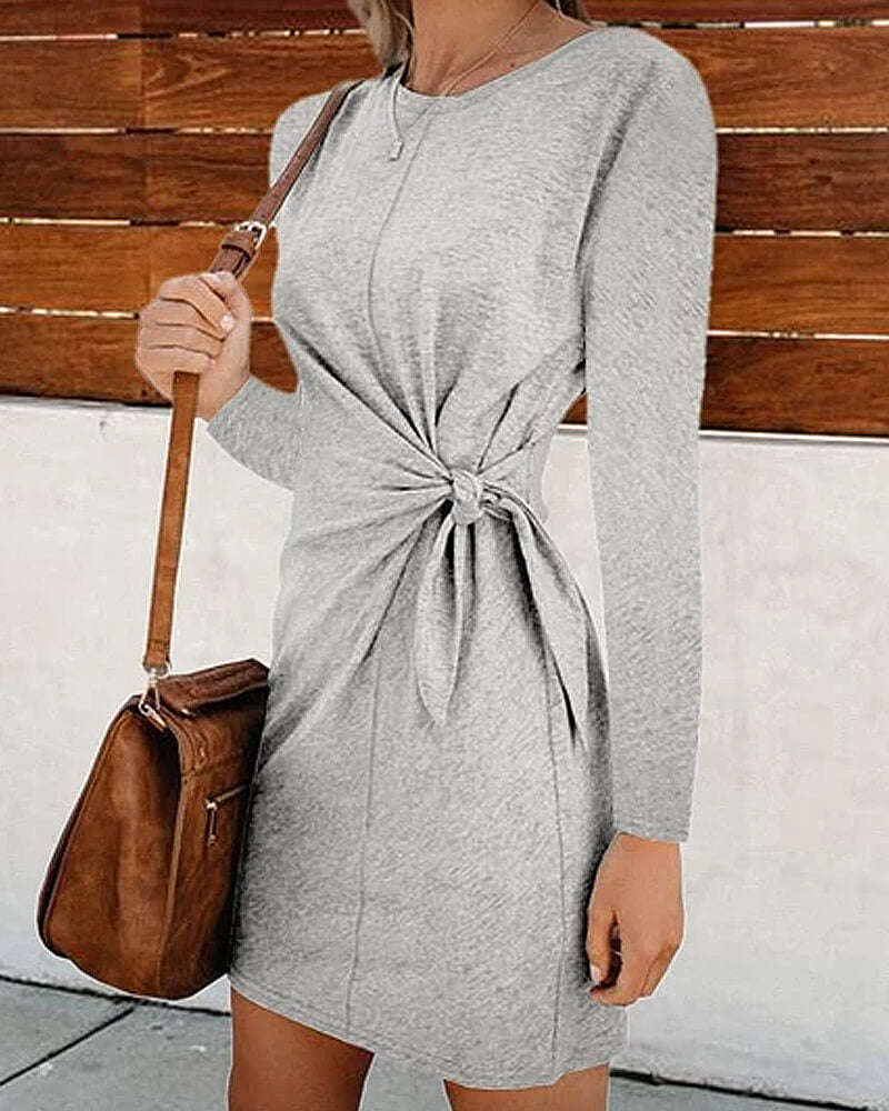 Waist Tie Long Sleeve Dress