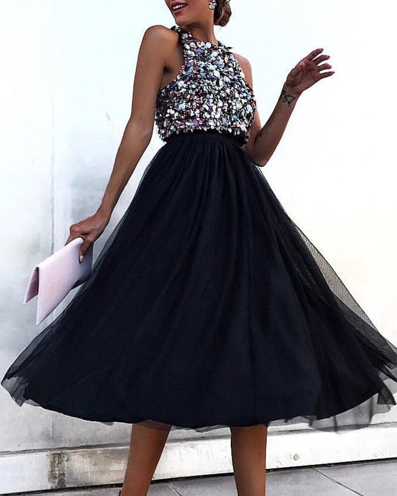 Sequined & Knee Length Tulle Dress