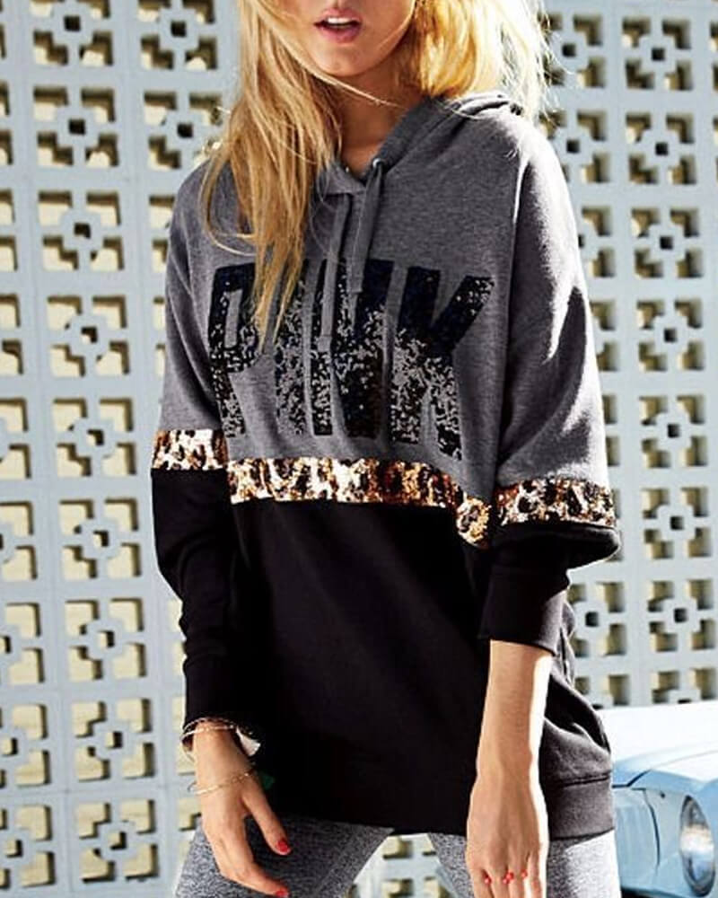 Chic Letter Print Leopard-Print Detail Hooded Sweatshirt