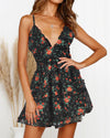 Ruffle Floral Print Sling Dress
