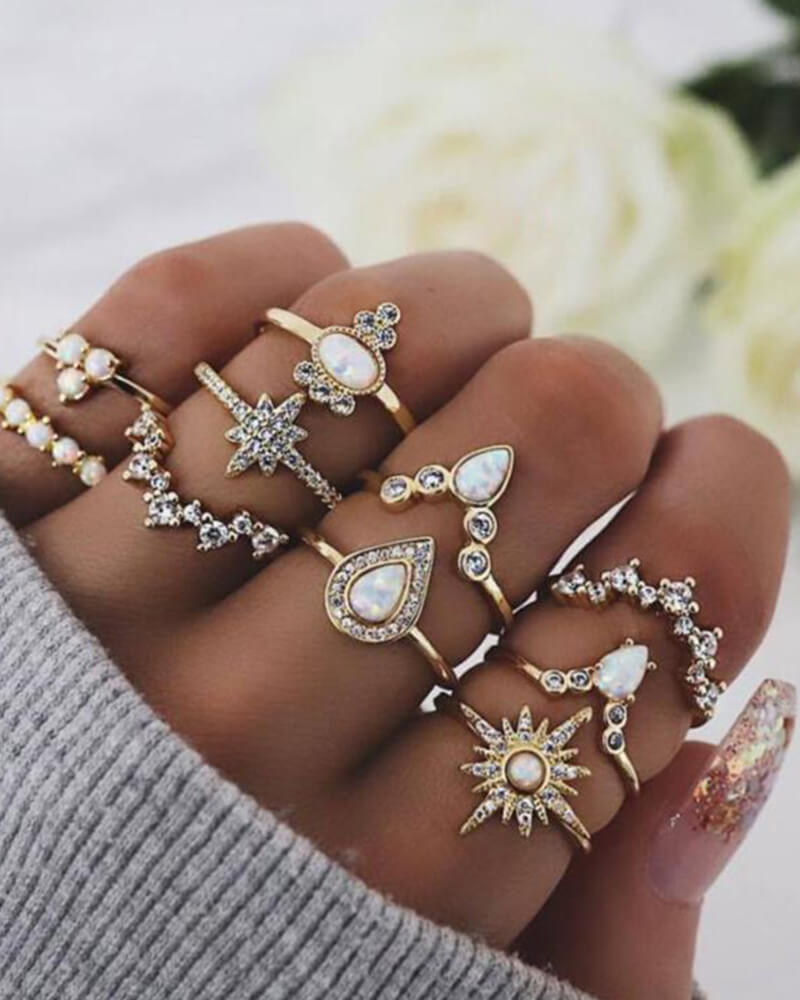 Rhinestone Geometric Ring Set