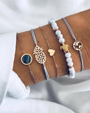 Pineapple & Earth Bracelet Set