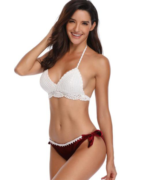 Knitted Top Velvet Bottom Bikini Set