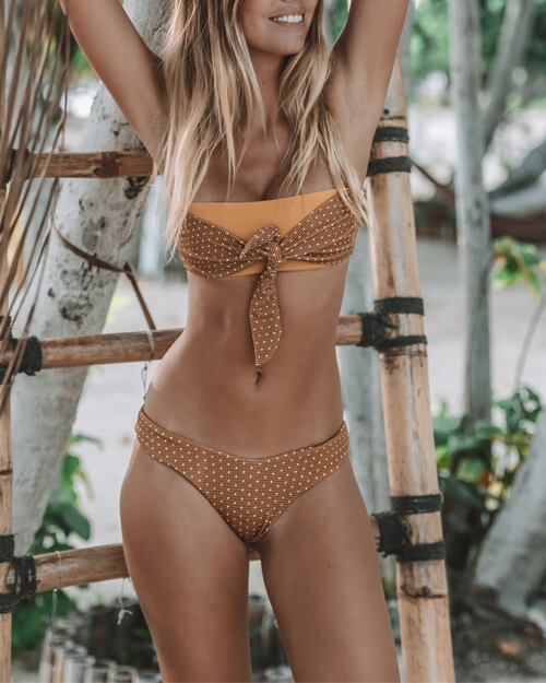 Splicing Color High Leg Bikini Set