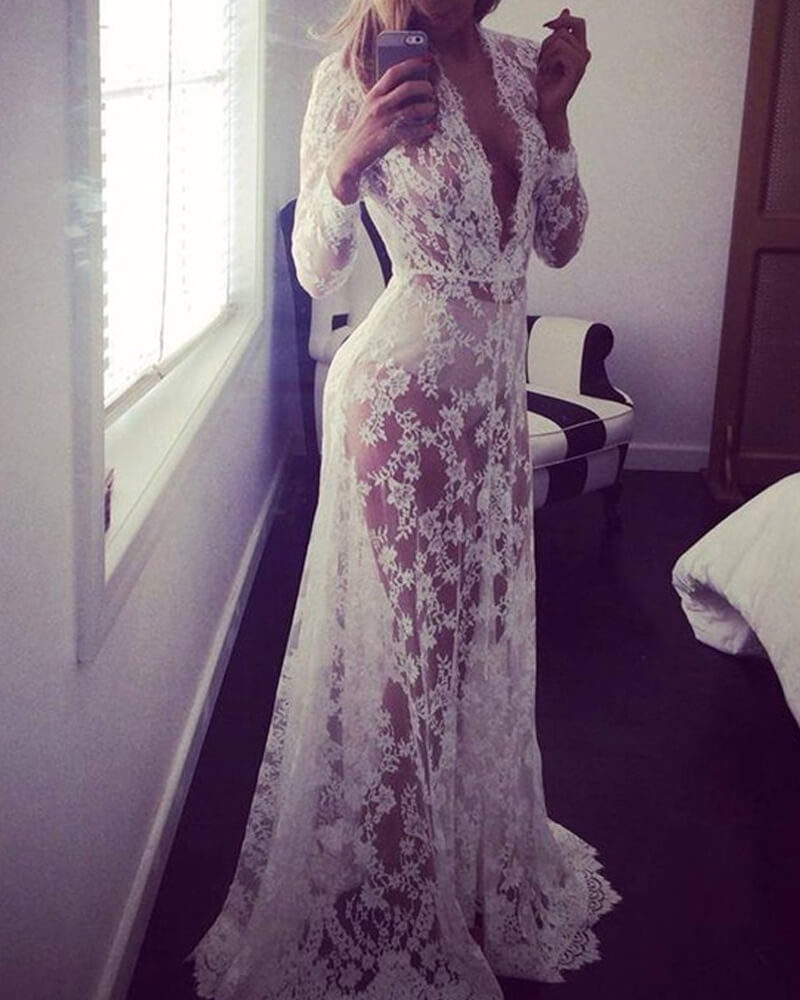 Sexy Deep V-Neck Long Sleeve Lace Dress