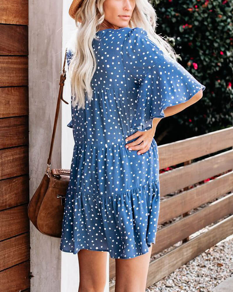 Blue Polka Dot Babydoll Dress