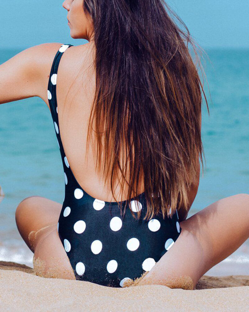Dot Print Backless One-Piece  Swimsuit