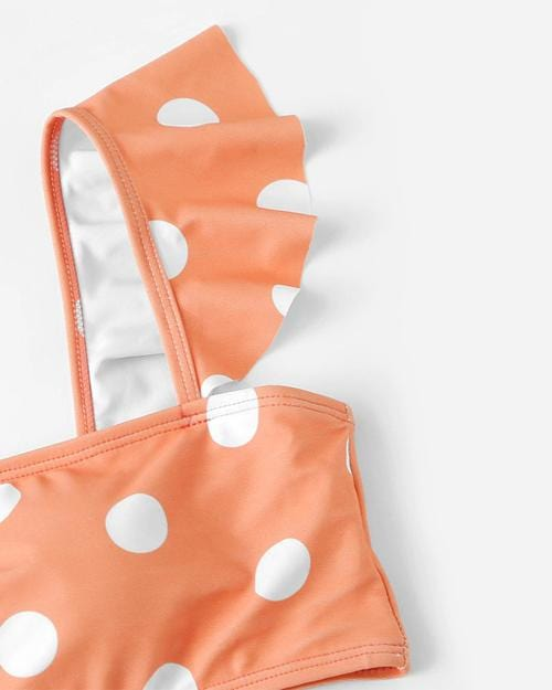 Peach Polka Dot Bikini Set