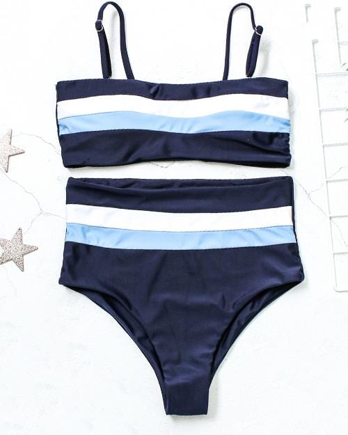 Splicing Colors High Waisted Bikini Set