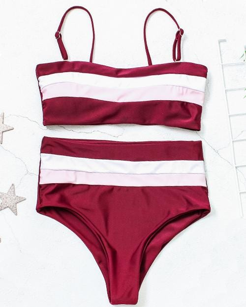 ce6fa9afeaadb Splicing Colors High Waisted Bikini Set