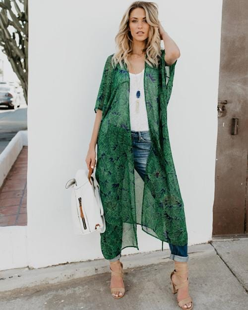 Green Floral Cover-up
