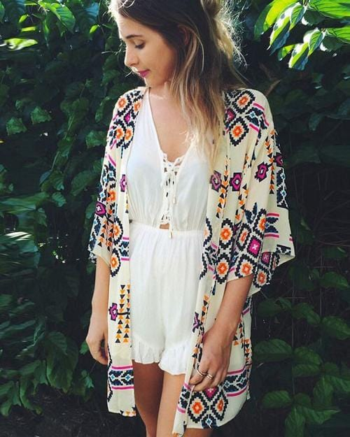 White Floral Cover-up