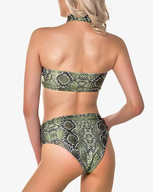 Green And Purple Snakeskin High-Waisted Bikini