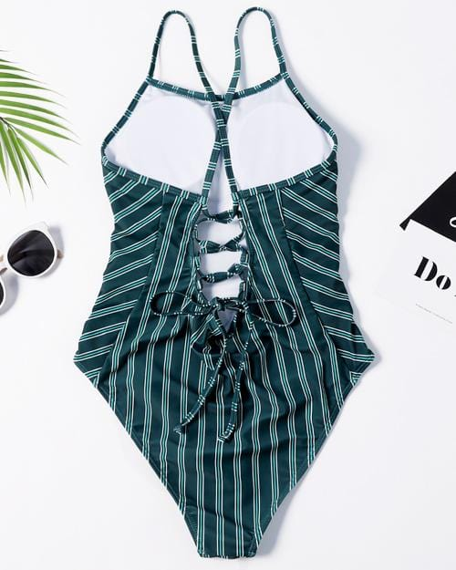 Green Stripes Crush One-Piece Swimsuit