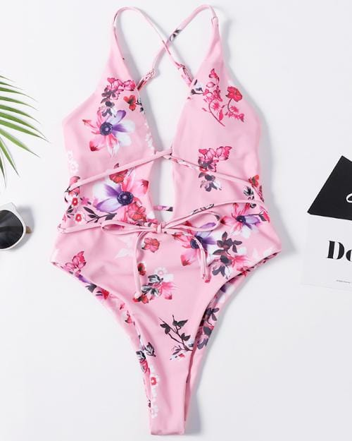 Floral Print Lace-up One-Piece Swimsuit